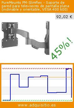 PureMounts PM-Slimflex - Soporte de pared para televisores de pantalla plana (inclinable y orientable, VESA 400 600) (Accesorio). Baja 45%! Precio actual 92,02 €, el precio anterior fue de 168,49 €. http://www.adquisitio.es/purelink/puremounts-pm-slimflex