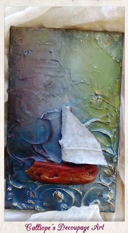 Χειροποίητο καραβάκι σε καμβά | Calliope's Decoupage Art