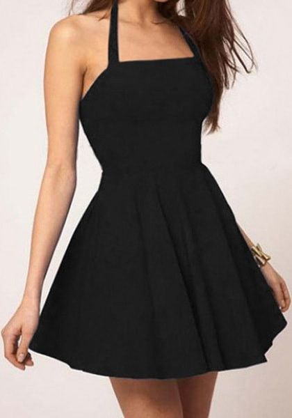 This black halter skater dress is made of slightly stretchable material and features partial lining to keep your goodies covered. Purchase it here. | Lookbook Store Dress