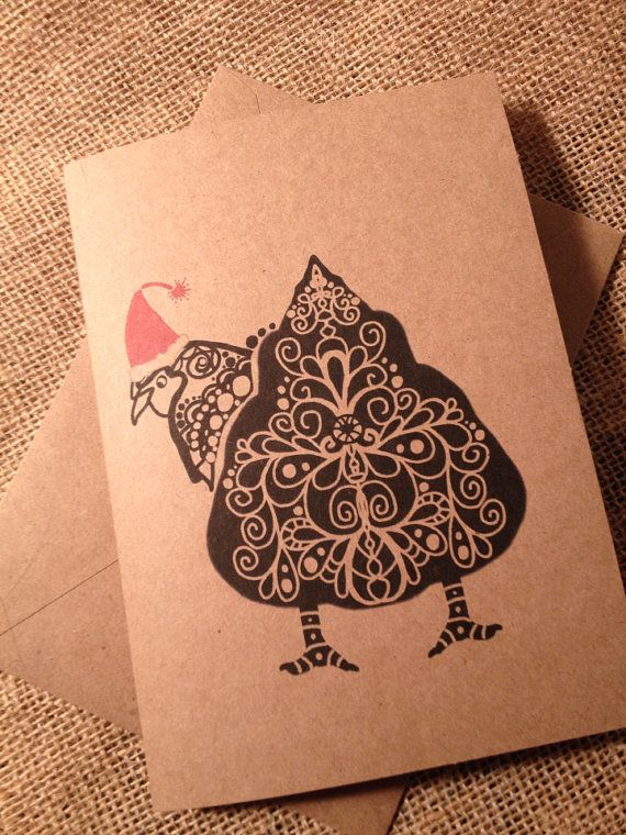 5 Chicken Butt Holiday Christmas greeting card by DoodleButton
