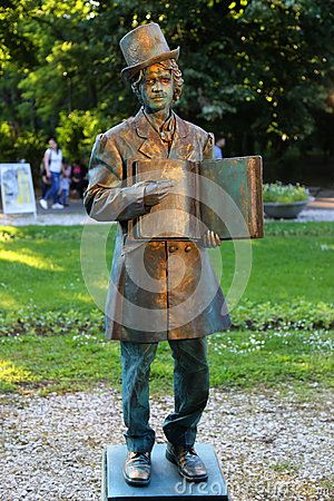 Living statue - H. C. Andersen at international festival of living statues in Bucharest, Romania.