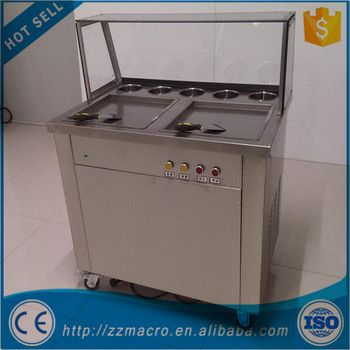 CE approved double pan thailand rolled fried ice cream machine