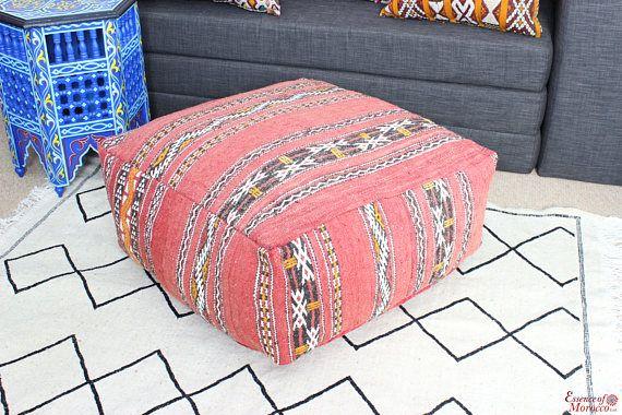 Moroccan Vintage Kilim Pouf Pouffe Ottoman Floor Cushion Pillow