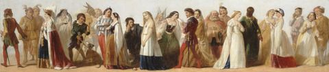 unknown artist, mid-19th century, British; Formerly attributed to Daniel Maclise, 1806-1870 Title Procession of Characters from Shakespeare's Plays Alternate Titles A Procession of Shakespeare Characters Date ca. 1840 Medium Oil on board