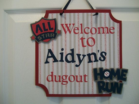 Baseball  Party- Baseball Room Decor- Baseball Birthday Party Sign- Baseball Door Sign on Etsy, $12.00