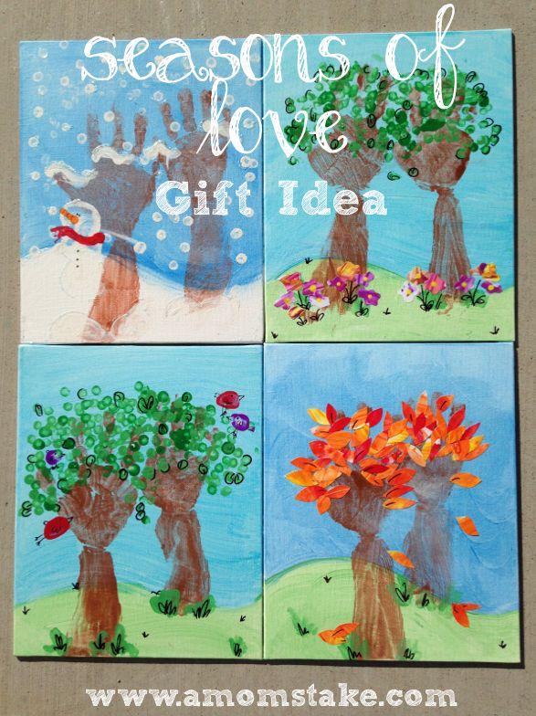 Seasons of Love Handprint Art #Handprint #Art #Seasons