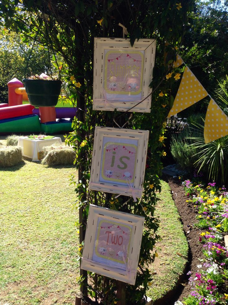 Pink and yellow farmyard themed party