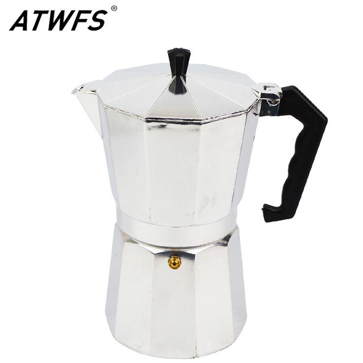 Atwfs terbaru 3/6/9/12 cangkir espresso coffee pot aluminium moka pot moka pembuat kopi espresso cangkir kopi cangkir teh