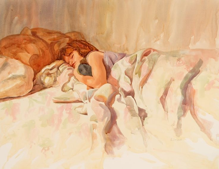 """Sleeping Angel 26"""" x 21"""" original watercolor - giclee available"""