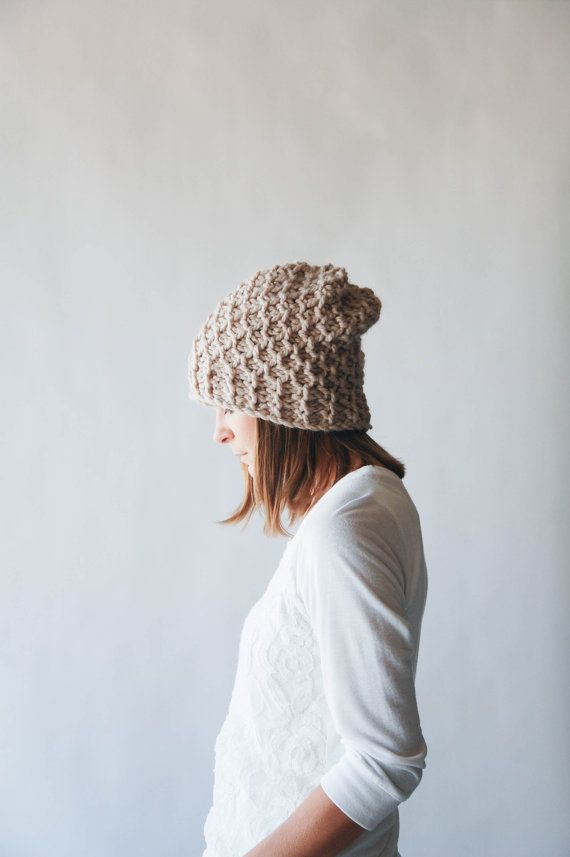 Slouchy Hat Textured Winter Hat / THE HOLOCENE / Linen by ozetta