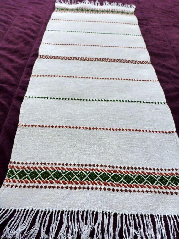 Vintage handwoven linen table runner / rug Hand Woven by Retroom, $10.00