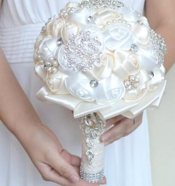 Diy Kit Satin Roses Brooch Bouquet Kit Seda Wedding Brooch