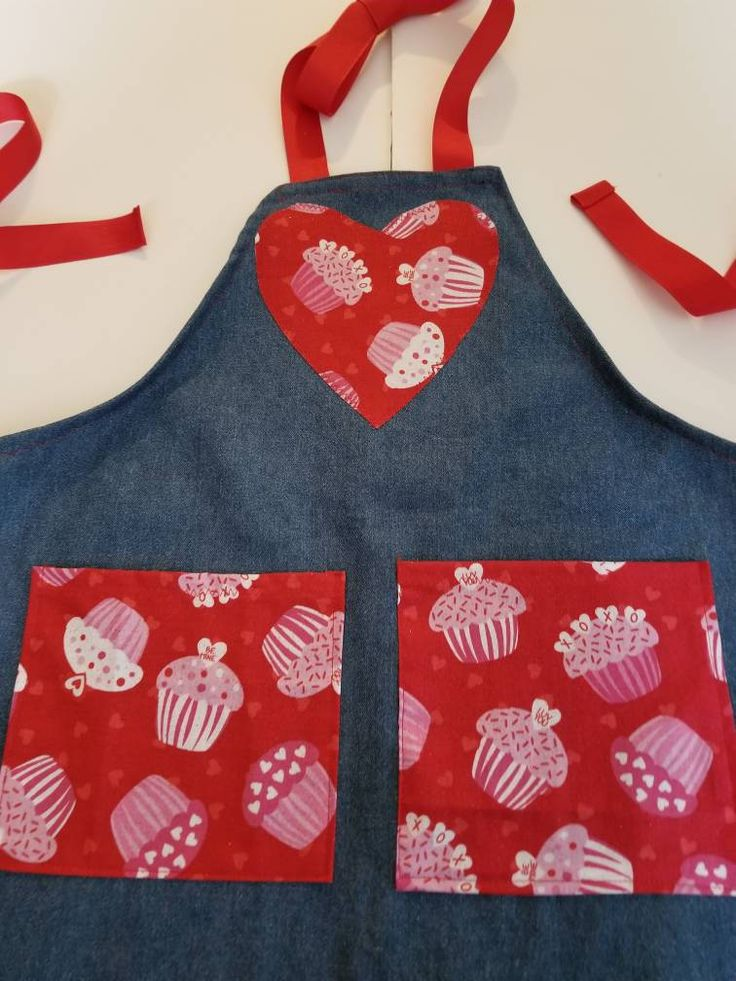 Valentine Cupcakes Kids Denim Apron Size 3 4, Kids Aprons, Valentine Aprons,