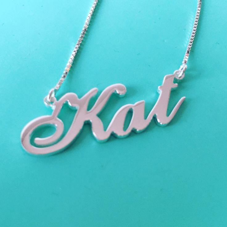 Carrie Style Silver Name Necklace in name Kat
