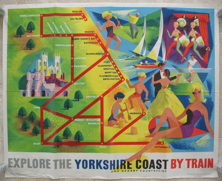 Original Railway Poster Explore the Yorkshire Coast and Nearby Countryside by Train, by Reginald Lander. Sold by originalrailwayposters.co.uk