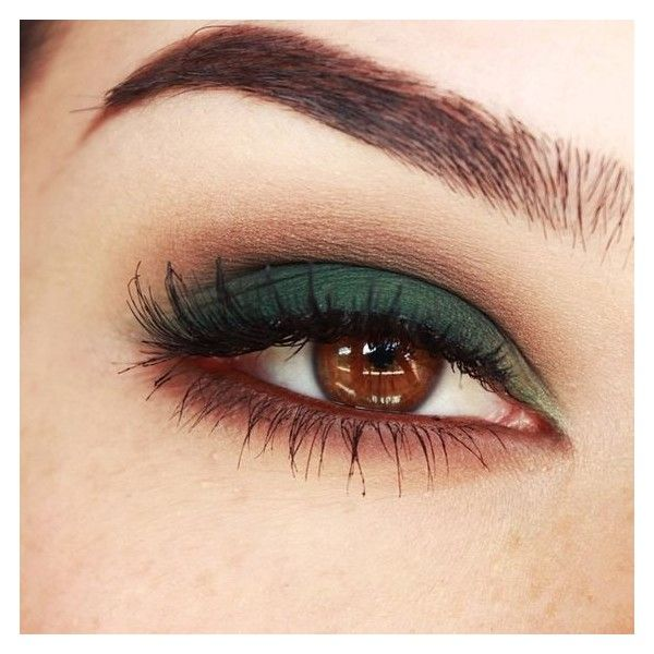 Smokey eyes with Green and Browns makeup tutorial ❤ liked on Polyvore featuring beauty products