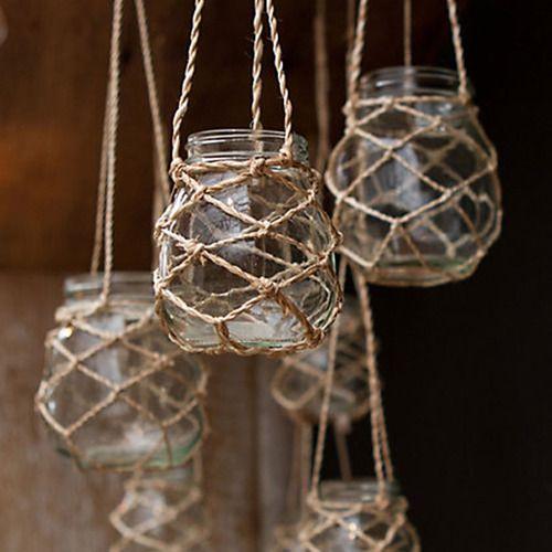 hanging jars with easy jute macrame knots macrame. Black Bedroom Furniture Sets. Home Design Ideas