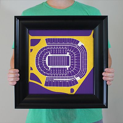 Tiger Stadium located at Louisiana State University in Baton Rouge, Louisiana | College football prints from City Prints put you back in the stands on Saturdays. City Prints look like modern art and remind you of the unforgettable moments you experienced in your favorite seats