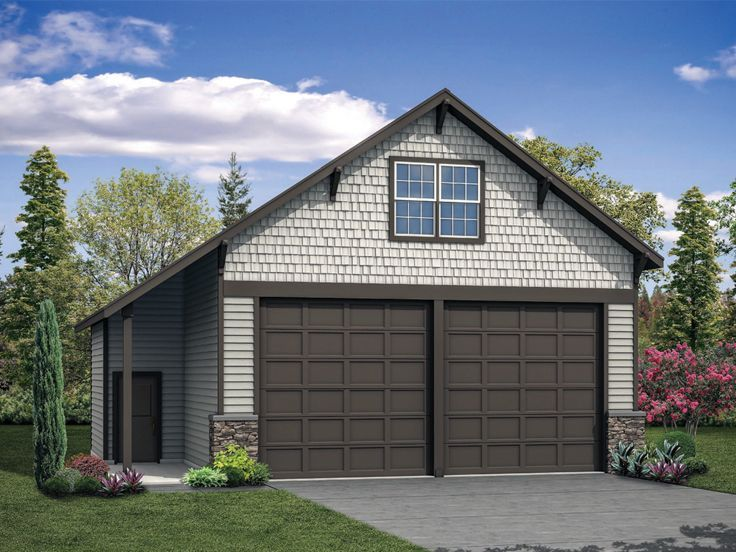 051g 0114 Rv Garage Plan With Loft Has Two 12 X12 Garage Doors Garage Plans With Loft Detached Garage Designs Garage Plan