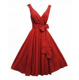"""Red Retro 50's Vintage Looking Swing Dress With A Deep """"V"""" Neck. Sizes Plus Sizes {S 6 Xl}. Pin Up. Rockabilly. Free Shipping Ae411747"""