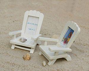 """""""Beach Memories""""  Miniature Adirondack Chair Place Card Holder. So cute for a beach themed table setting!!"""
