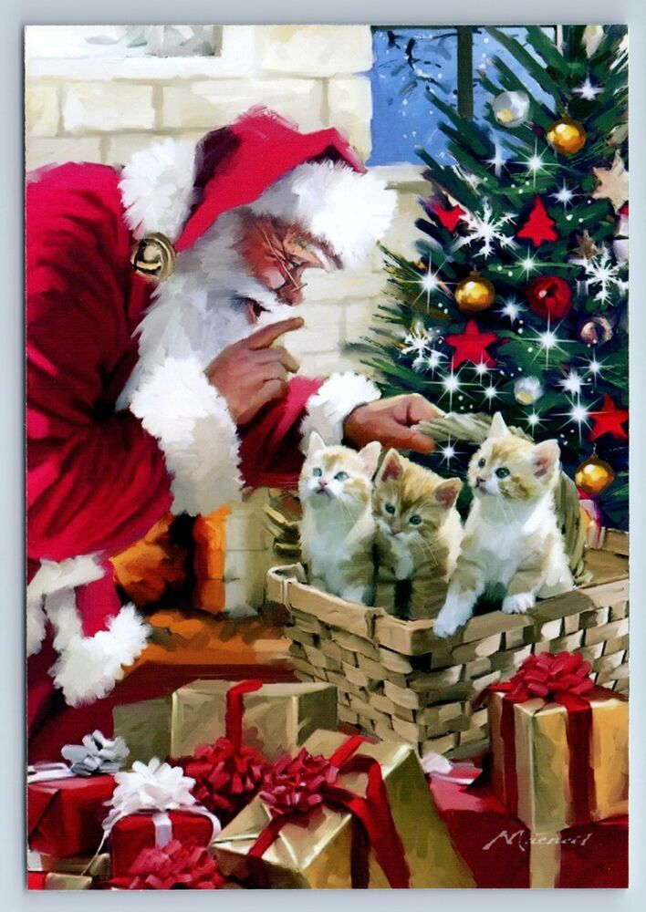 Kittens Santa Claus Christmas Gifts Russian Unposted Postcard Christmas Art Christmas Illustration Traditional Christmas Cards