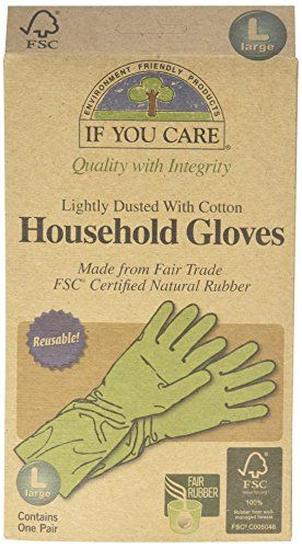 Cotton Lined Household Gloves, Large. 100% natural latex, 100% renewable resources, 100% cotton lining, FSC certified ethically sourced latex, reusable. Packaged in FSC certified recycled board processed chlorine-free. $8.09