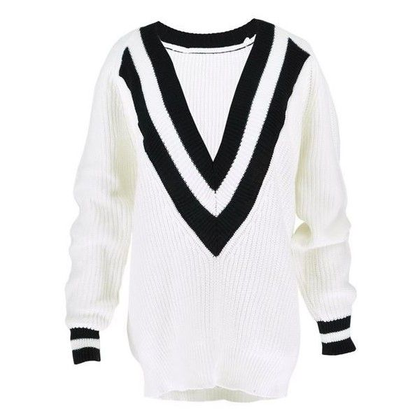 IT Deep V Mono Jumper in White (420 MXN) ❤ liked on Polyvore featuring tops, sweaters, boyfriend sweaters, oversized jumper, striped sweater, thick sweaters and v-neck sweater