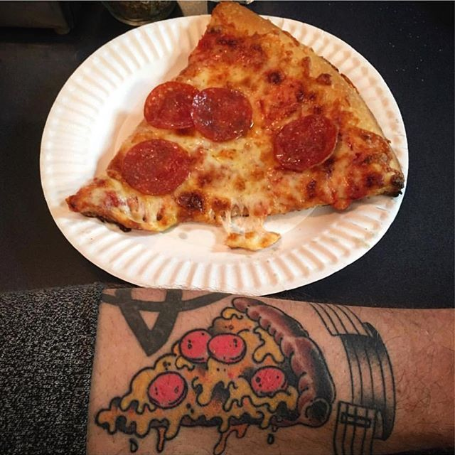 DM us pics of your pizza tattoos with a slice of pizza. We want to see your action shots.  This pic is from @steeeiiinnn by @troysouders! Thanks for sharing.
