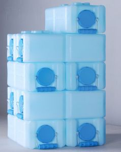 Water Brick Containers - Each Brick stores 3.5 gallons of water. They can be frozen, so you can store water outside! They stack too, so a small footprint will store a lot of water for you.