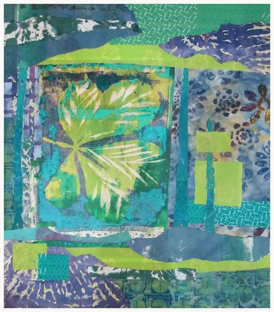 ©Hilary Beattie - Gelli printing ... and lastly - here is the next in the series (not sure how many yet) - this one is a blue version - just bonded down here and ready to start stitching tomorrow.