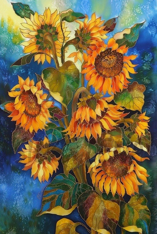 Art Print FLOWERS Series Of Original SILK Painting by SilkByLena