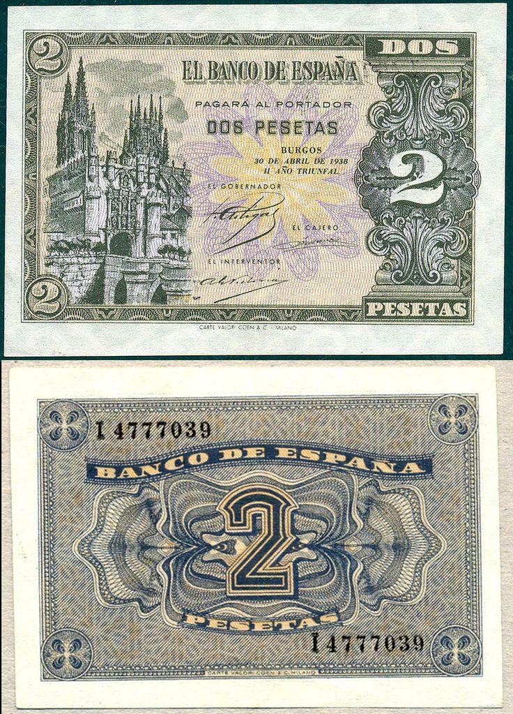 1938, billete de 2 pesetas-Burgos