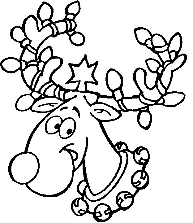 reindeer and christmas lights printable coloring page
