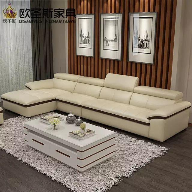 Modern Sectional Livingroom Beige Genuine Leather Sofa Set Leisure L Shape Sofa Set Leather Top Grain Italy Leat Genuine Leather Sofa Leather Sofa Set Sofa Set
