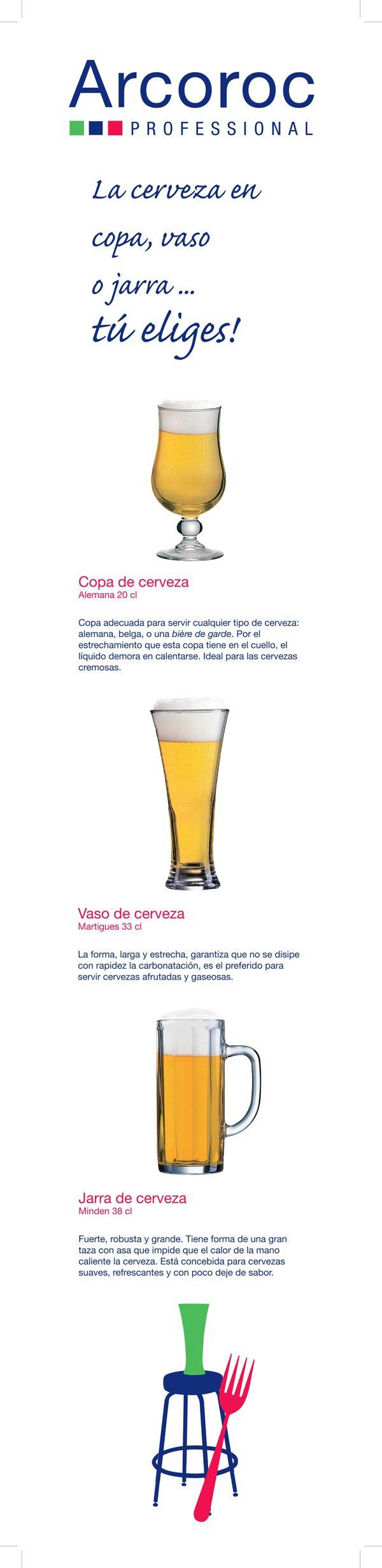 Cada cerveza en su copa #cerveza #beer #copas #vasos #jarras #cristalería #hostelería #Arcoroc