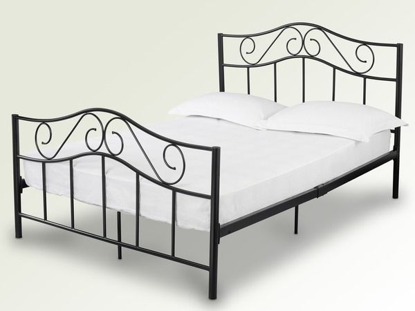 Black Or White 3ft 4ft6 Double 5ft King Size Zeta Metal Bed + Mattress Options 114