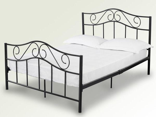 Black Or White 3ft 4ft6 Double 5ft King Size Zeta Metal Bed + Mattress Options 114