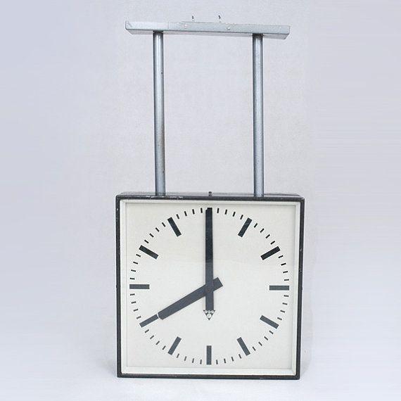 Large double sided Industrial cklock Pragotron PE 401, vintage double sided clock, industrial double sided clock,