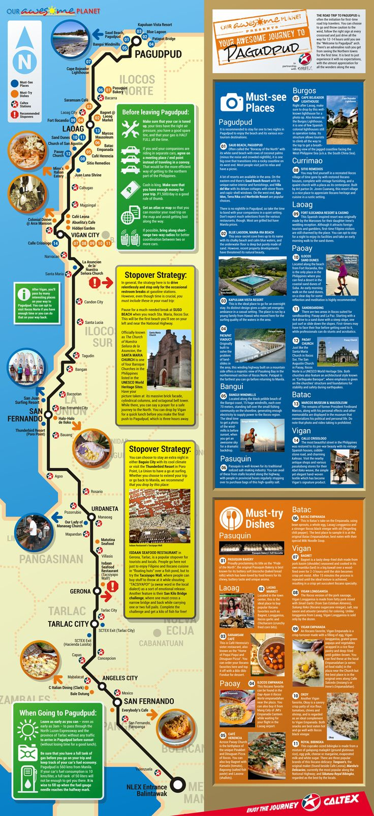 Our Awesome Planet in partnership with Caltex Philippines presents Awesome Journeys Infographics: (Download: Your Awesome Journey to Pagudpud PDF File for Printing) YOUR AWESOME JOURNEY TO PAGUDPUD written by Anton Diaz for the Awesome Life Planner 2012 The road trip...