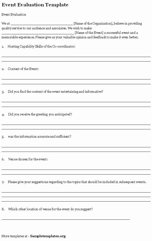 Event Feedback Form Template Fresh Event Template For Evaluation