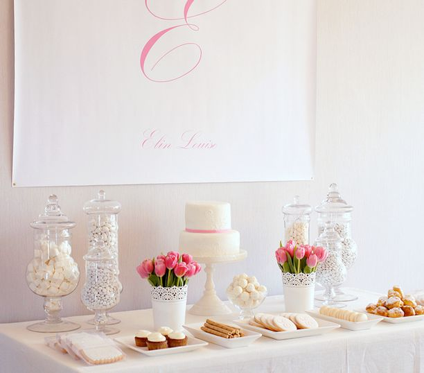 I don't get the whole candy buffet idea but this is a pretty tablescape.
