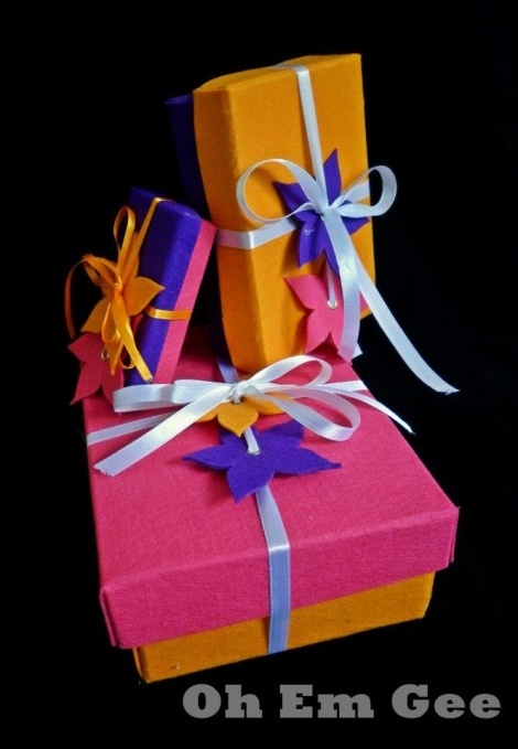 Hand made felt gift boxes and gift tags