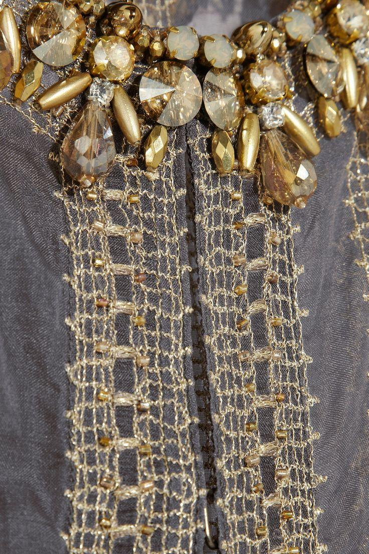 BIYAN Raya embellished silk-organza evening coat