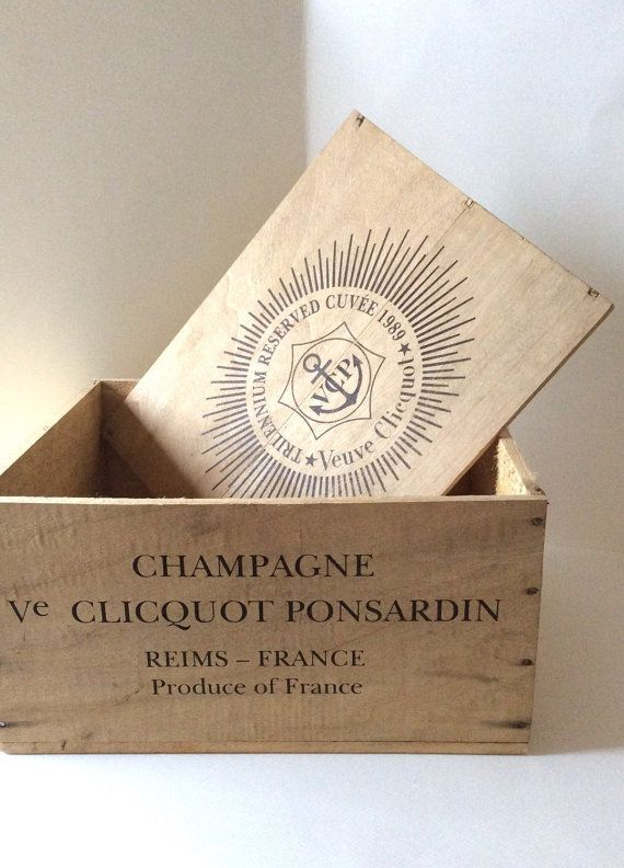 Veuve Cliquot Champagne. Wooden wine crate by SouthofFranceFinds