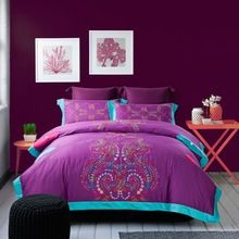 Commercio all'ingrosso di 2014 100% raso di cotone ricamo bedding set viola copripiumino lamiera piana biancheria da letto/trapunta set di copertura (QX303)(China (Mainland))