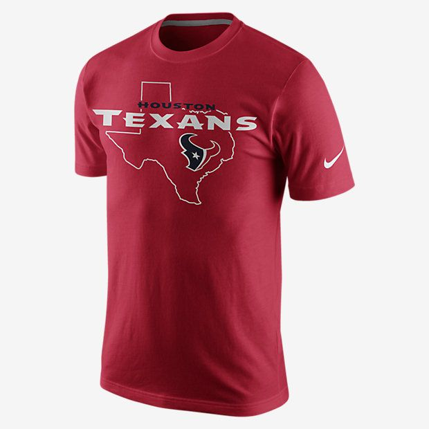 REPRESENT YOUR TEAM The Nike Pride of Texas (NFL Texans) Men's T-Shirt makes a team statement with a large state graphic on comfortable cotton for home-grown pride and a classic fit. Product Details Rib crew neck with interior taping Fabric: 100% cotton Machine wash Imported