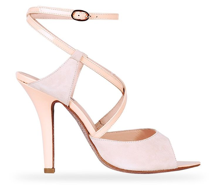 Double ankle cross Strap Sandal Dita with glitter sole. Eve Nude Patent Leather and Goatskin Suede by Repetto. #Repetto #Wedding #WeddingShoes #Nude #Pastel #Glitter #Sparkle #Sparkling