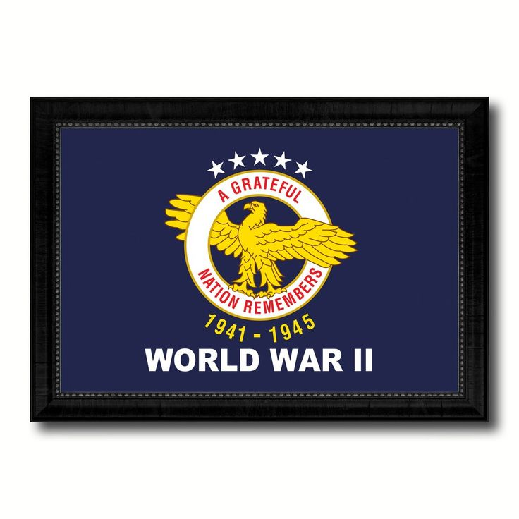 World War 2 Military Flag Canvas Print With Brown Picture Frame Home Decor  Wall Art Gift Ideas
