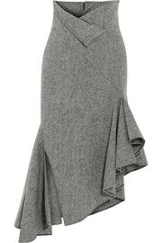 Asymmetrischer Midirock aus Fischgrat-Wolle